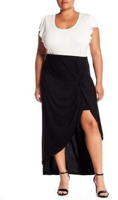 Bobeau Hi-Lo Twist Front Skirt (Plus Size)