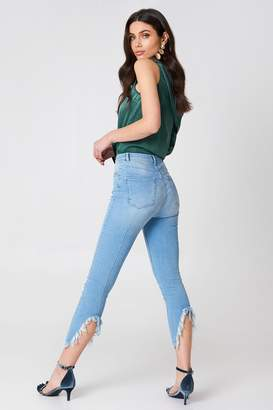 Hannalicious X Na Kd Slit Back Jeans Light Blue