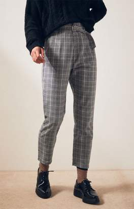 Kendall & Kylie Belted Plaid Pants