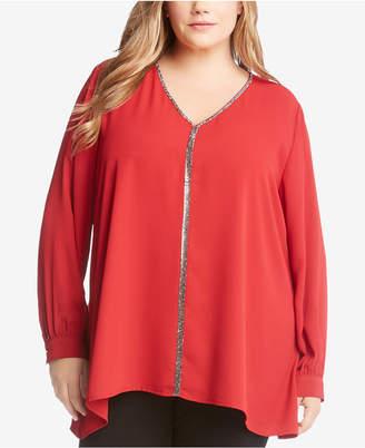 Karen Kane Plus Size Sparkly Long-Sleeve Top