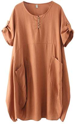 HOOBEE LINEN Women's Short Sleeve Loose Baggy Dress Top with Pockets