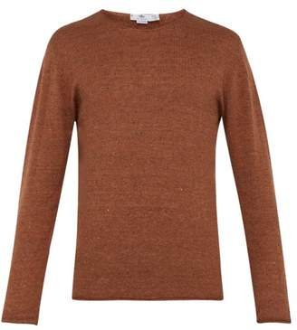 Inis Meáin Inis Meain - Linen Blend Crew Neck Sweater - Mens - Brown