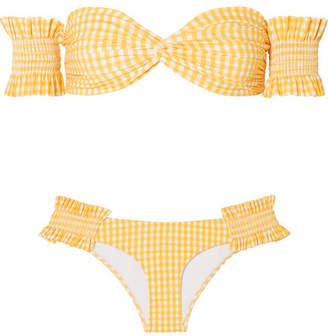 Caroline Constas Andros Off-the-shoulder Shirred Gingham Bikini - Yellow