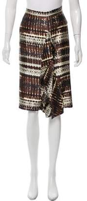 Oscar de la Renta Knee-Length Silk Skirt Brown Knee-Length Silk Skirt