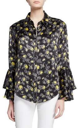 Cinq à Sept Kirby Floral-Print Silk Ruffle-Sleeve Button-Down Top