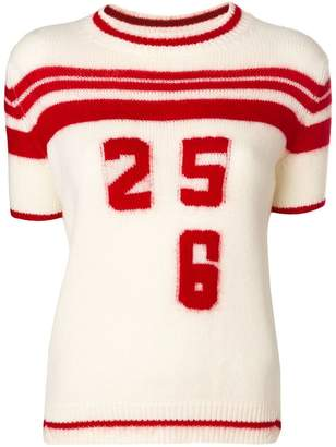 Ermanno Scervino short sleeve intarsia jersey knit top