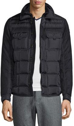 Moncler Blais Mixed-Media Down Shirt Jacket, Black $1,185 thestylecure.com