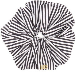 Hillier Bartley Logo Embroidered Striped Satin Scrunchie - Womens - Black White