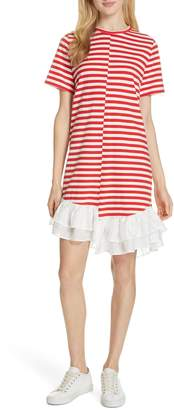 Clu Stripe Ruffle Hem Asymmetrical Dress