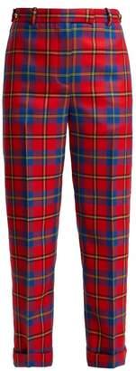 Versace Tartan Wool Trousers - Womens - Red Multi