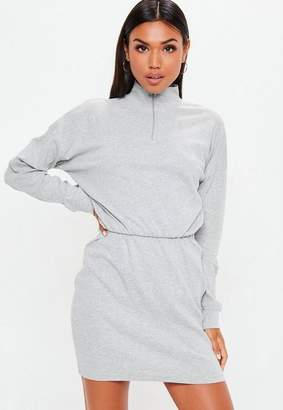 Missguided Gray High Neck Long Sleeve Sweater Dress