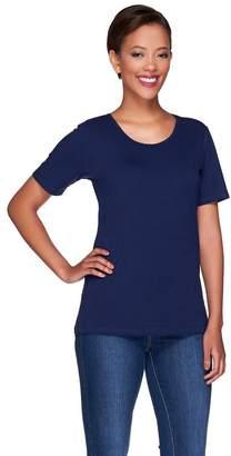 Denim & Co. Essentials Scoopneck T-Shirt w/ Trim