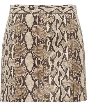 Givenchy Python Effect Leather Mini Skirt - Womens - Beige Print