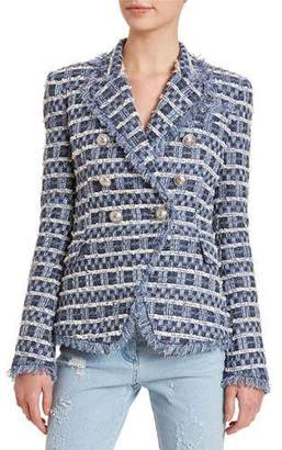Balmain 6-Button Frayed Tweed Blazer Jacket