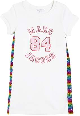 Little Marc Jacobs Logo & Sequins Cotton Sweatshirt Dress