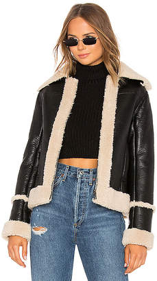 Mother The Boxy Zip Moto Faux Leather Jacket