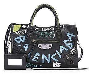 Balenciaga Women's Small City Graffiti Leather Satchel