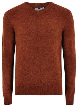 Topman Mens Brown Rust V Neck Sweater