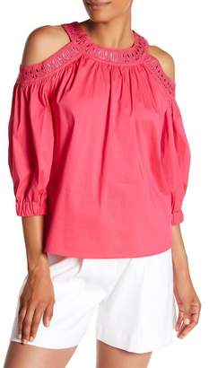 Laundry by Shelli Segal Embroidered Cold Shoulder Top