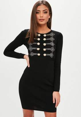 Missguided Black Button Front Knit Dress