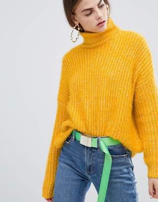 Bershka eyelash texture roll neck sweater