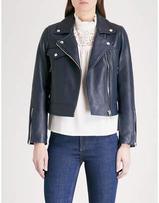 Claudie Pierlot Biker-collar cropped leather jacket