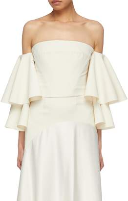 SOLACE London 'Caia' tiered ruffle sleeve off-shoulder corset top