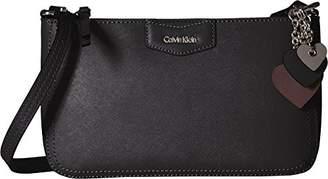 Calvin Klein Saffiano Leather Key Item Demi Shoulder Bag with Charm Hanger