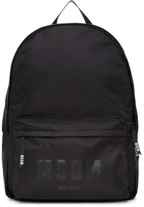 MSGM Black Nylon Logo Backpack