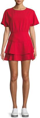 Alice + Olivia Palmira Tie-Back Tiered Ruffle Dress