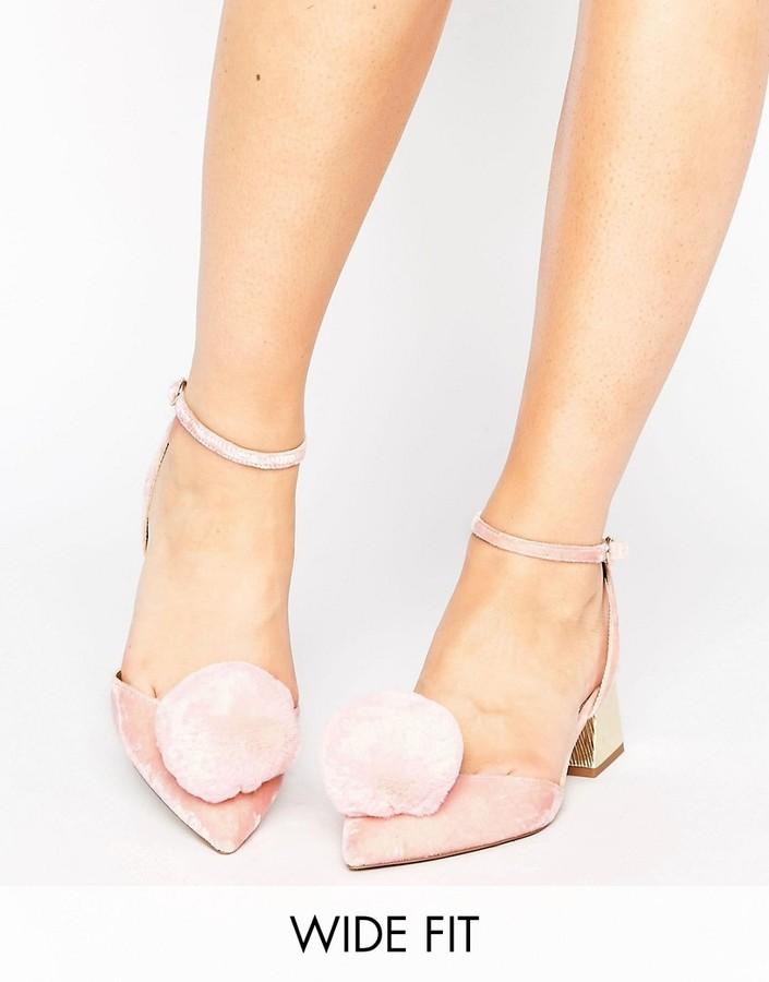 AsosASOS SAUCY Wide Fit Pom Pom Mid Heels