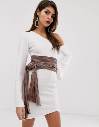 Asos Design DESIGN off shoulder metallic belt scuba mini dress