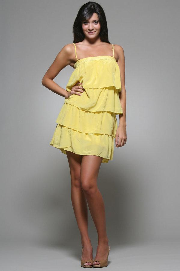 Whitley Kim Ruffle Dress in Yellow
