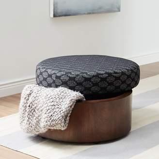 west elm Upholstered Storage Ottoman - Black/White