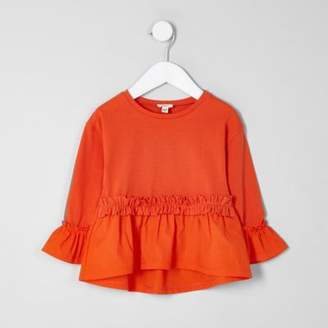 River Island Mini girls orange poplin frill top