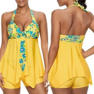 TAORE Womens Bikini Women Tankini Sets Boy Shorts Bikini Set Swimwear Push-up Padded Bra