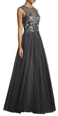Basix Black Label Embellished Mesh Ball Gown