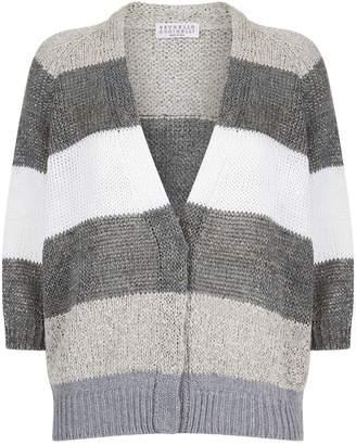 Brunello Cucinelli Stripe Print Chunky Knit Cardigan