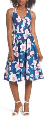 Eliza J Floral Fit & Flare Halter Dress (Regular & Petite)