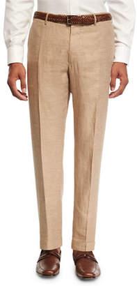 Incotex Linen Drill Flat-Front Pants