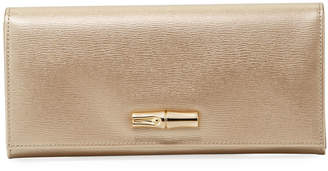 Longchamp Roseau Metallic Leather Snap Continental Wallet