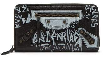Balenciaga Classic Graffiti Print Zip Around Leather Wallet - Womens - Black White