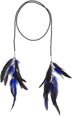 Nakamol Crystal Lariat Feather Necklace, Blue