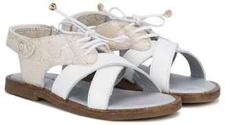 Stuart Weitzman textured crossover strap sandals