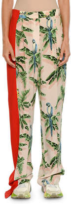 Stella McCartney Birds of Paradise Print Wide-Leg Lounge Pants w/ Solid Stripe