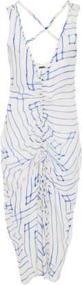 Cult Gaia Yara Ruched Silk Slip Dress