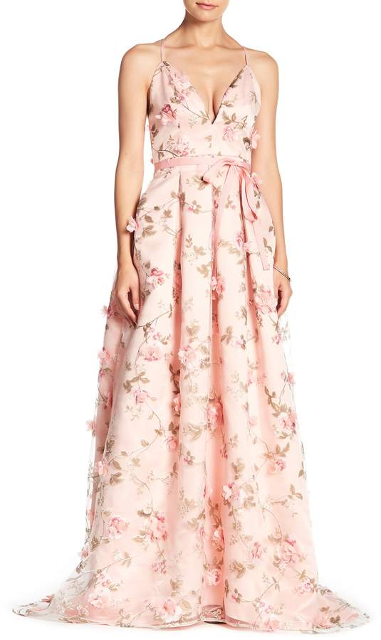 V-Neck Floral Waist Tie Dress