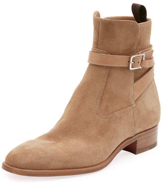 Christian Louboutin Men's Quico Suede Harness Boot