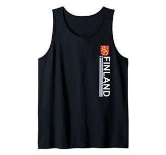 Finnish Sports Style Left-side Flag and Emblem Design Tank Top