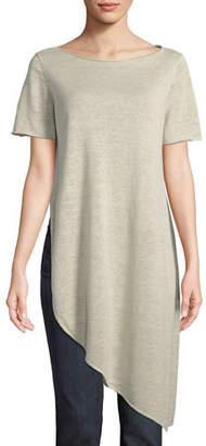 Eileen Fisher Organic Linen Knit Asymmetric Tunic, Petite